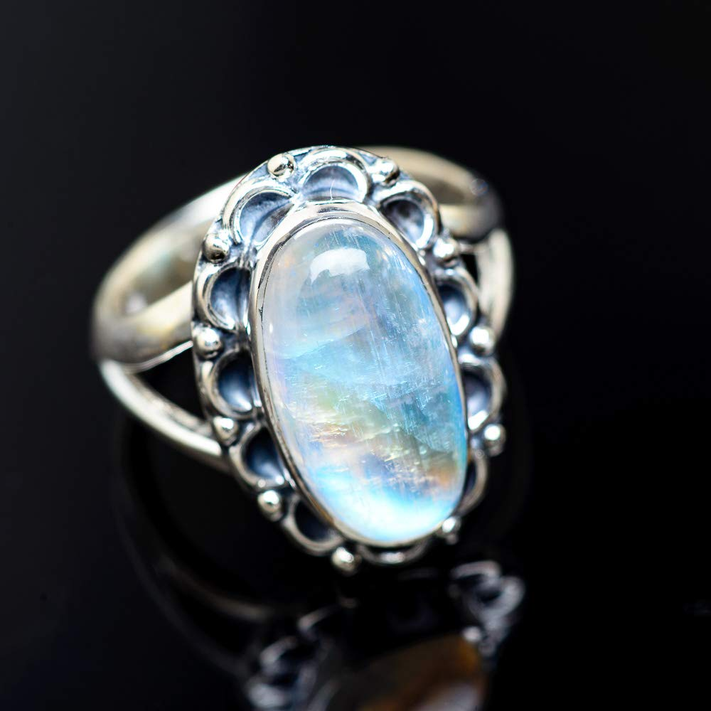 Vintage RING949351 Ana Silver Co Rainbow Moonstone Ring Size 7.75 Bohemian 925 Sterling Silver - Handmade Jewelry
