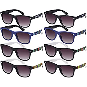 Edge I-Wear 8 Pack 80's Neon Horned Rim Sunglasses with 100% UVA/UVB Protection 5401AP-AP-8 (Multicolored, Grey)