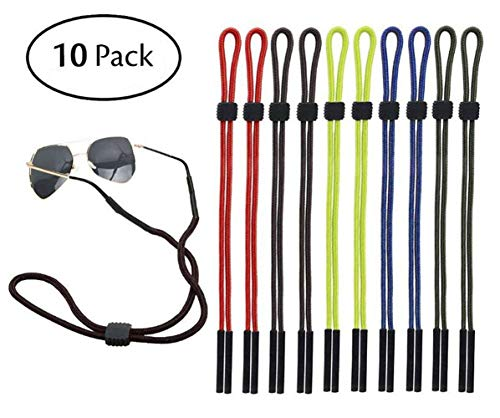 10PCS Men and Women Sports Sunglass Holder Strap No Tail Adjustable Eyewear Retainer Safety Glasses Eyeglasses Neck Cord Lanyard String Eyeglass Chain for Reading Outdoor Sports(Assorted Color) -