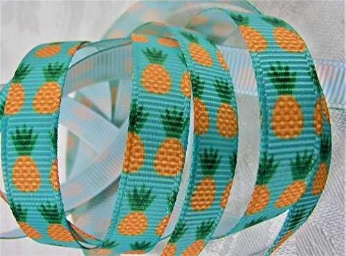 Grosgrain Ribbon - Pineapple Print - 3/8