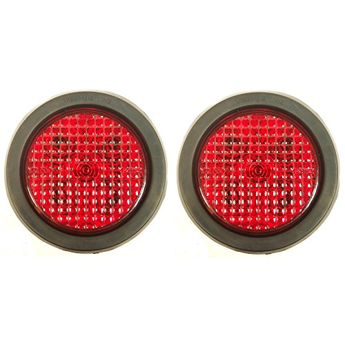 "TecNiq LED Lights - 4"" Round Stop Turn Tail Light (Pair) - Made in the USA - Truck Trailer RV"