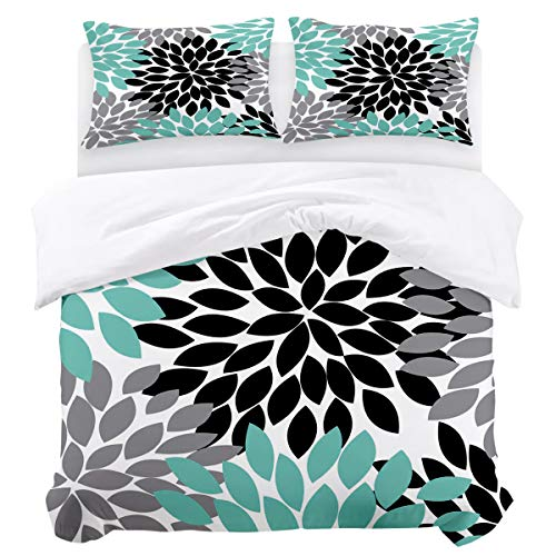 (OUR WINGS 3 Piece Modern Style Bedding Sets, Quilt Cover Sets,Black Grey Green Dahlia Floral Pattern King(90