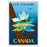 Canada - Air France - Maple Leaf Landscape - Vintage Airline Travel Poster by Jean Marie Nabrin c.1952 - Master Art Print - 13in x 19in
