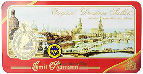 Reimann Original Dresdner Stollen, Red Tin, 26.4-Ounces (Red Tin Gift)