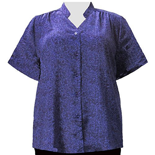 A Personal Touch Women's Plus Size Mandarin Collar V-Neck Blouse Purple Reagan - 0X