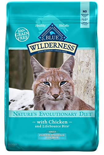 Blue Buffalo Wilderness High Protein Grain Free, Natural Adult Indoor Hairball Control Dry Cat Food, Chicken ()