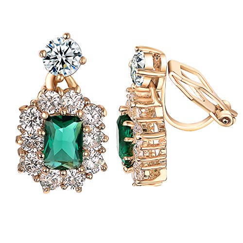 Yoursfs Luxury Green Crystal Earrings for Women CZ White Gold Plated Wedding Clip on Earrings (Non Pierced ()