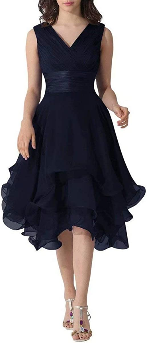 Womens V-Neck Chiffon Formal Dress Tea Length Mother of The Bride Dress