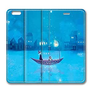 Brian114 6 Case, iPhone 6 Case - Slim Fit Leather Cover for iPhone 6 Boat At Night Shock Absorbent Leather Cases for iPhone 6 4.7 inch
