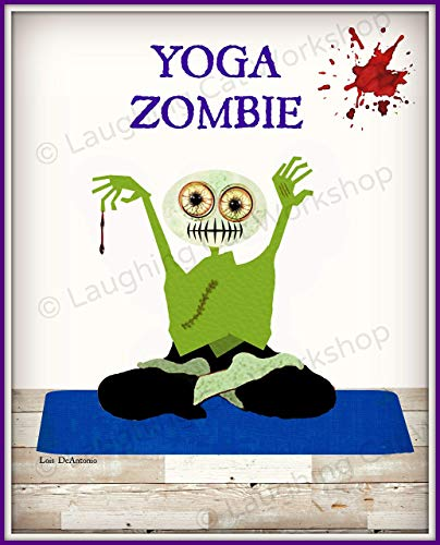 Funny Zombie print hipster Blood Zombies art Exercise Poster Work Out Yoga art Fitness Health Education Back to School Gym Art Zombie lovers gift The walking dead art Teens sports print ()