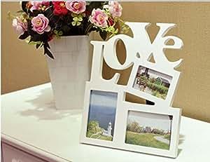El cuadro de la foto de Apperture de la madera del LOVE / marco de la foto lleva a cabo el álbum de 3 fotos 40 * 35cm Regalos de boda ideales , white (precio: 28,58€)