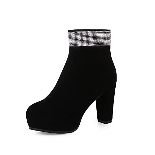 Girls Chunky Heels Glass Diamond Platform Zipper Frosted Boots