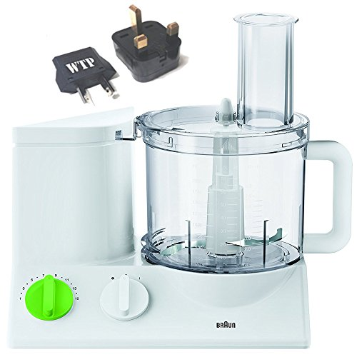 Bundle 2 Items: Food Processor + WTP Plug Kit - Braun FP3010 (NOT FOR USA) - International Model - FOR EXPORT ONLY - Do Not Use In The USA - Requires Foreign 220/240 Voltage To Operate