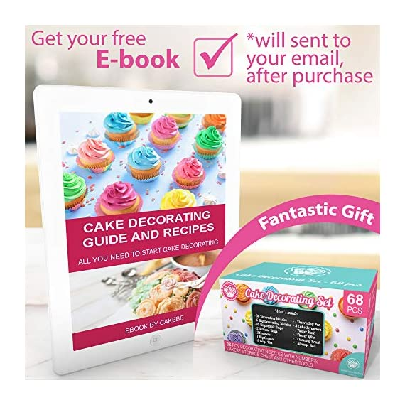 Cake Decorating Kit Cupcake Decorating Kit - 68pcs Cookie Decorating Supplies and Cookie Decorating Kit with Piping Bags and Tips - Frosting Icing Tips Pastry Bags with Tips - Baking Decorating Kit 3 ✅ NEW CAKE DECORATING KIT: Looking for a fresh and stylish cake decorating kit? This icing piping set has every cake decorating tools for expert cake decoration all in one set and something new - Cake Decorating Storage Chest with piping tips Smart Holder! ✅ STYLISH CAKE DECORATING SUPPLIES: Anyone can create professional-looking cakes with these high-quality cake decorating supplies! This cupcake decorating kit includes 36 numbered stainless steel icing tips with Pattern Chart and Extra-Durable 10 pcs icing bags and 2 reusable piping bags. ✅ ICING PIPING SET FOR BEGINNERS: Our cookie decorating kit is designed   to   help   you   create   your   own   decorative   masterpieces   of   all   shapes and   sizes , no matter what your    skill   level may be.   No decorating experience needed!