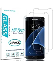 HPTech Galaxy S7 Screen Protector - (2-Pack) Tempered Glass Film for Samsung Galaxy S7 Screen Protector Easy to Install, Bubble Free with Lifetime Replacement Warranty