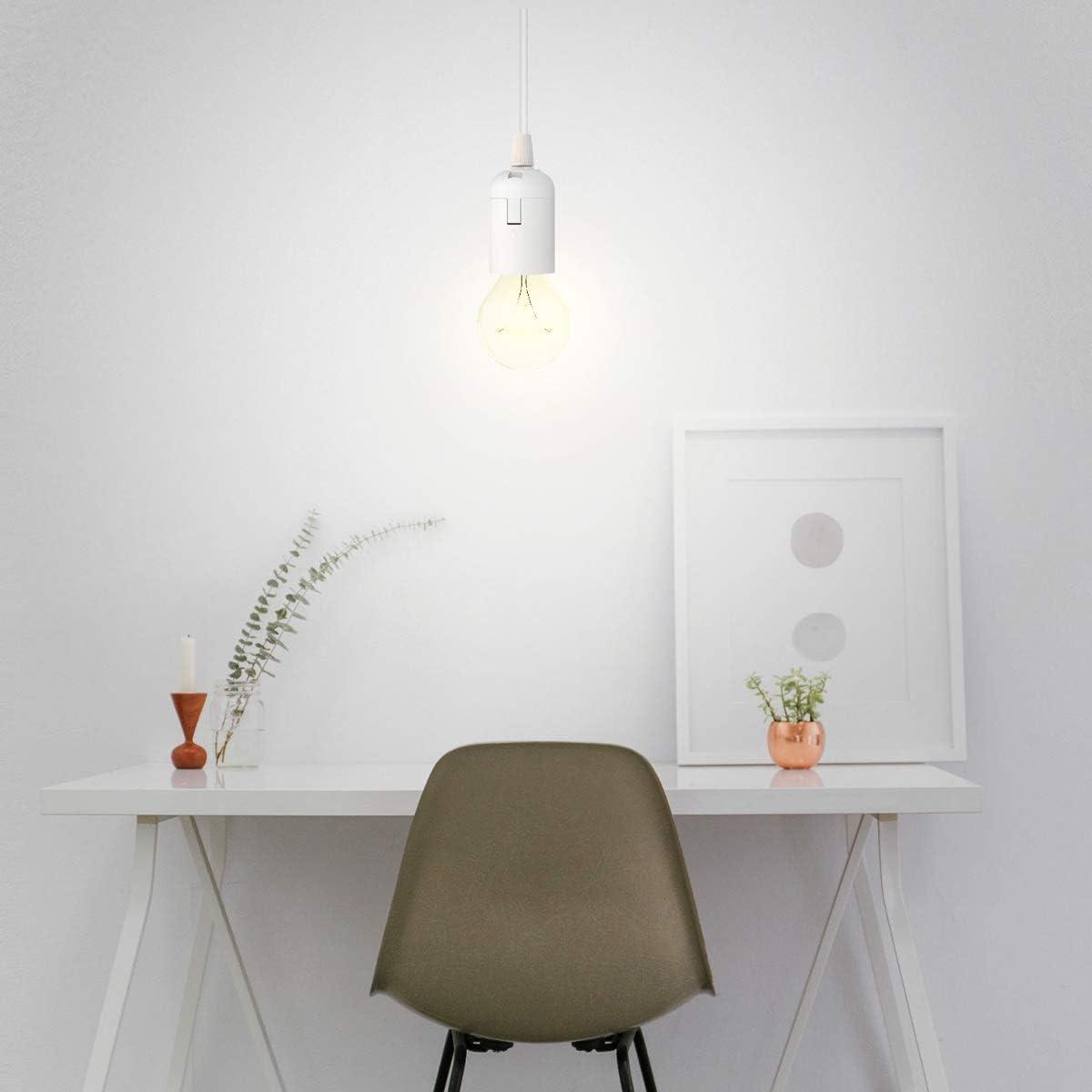 kwmobile Douille E14 avec fil C/âble 3,5m Support de lampe pour ampoule avec cordon alimentation prise /électrique et interrupteur