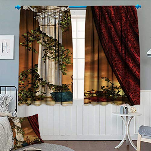 Chaneyhouse Gothic Window Curtain Fabric Greek Style Scene Climber Pillow Fruits Vine and Red Curtain Ancient Figure Sunset Drapes for Living Room 72