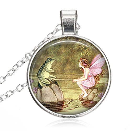 Women Small Round Disc Frog And Fairy Once Upon A Time Fairy Tale Pixie Mythology Fantasy ArtGlass Cabochon Jewelry Pendant Necklace Gift for Women