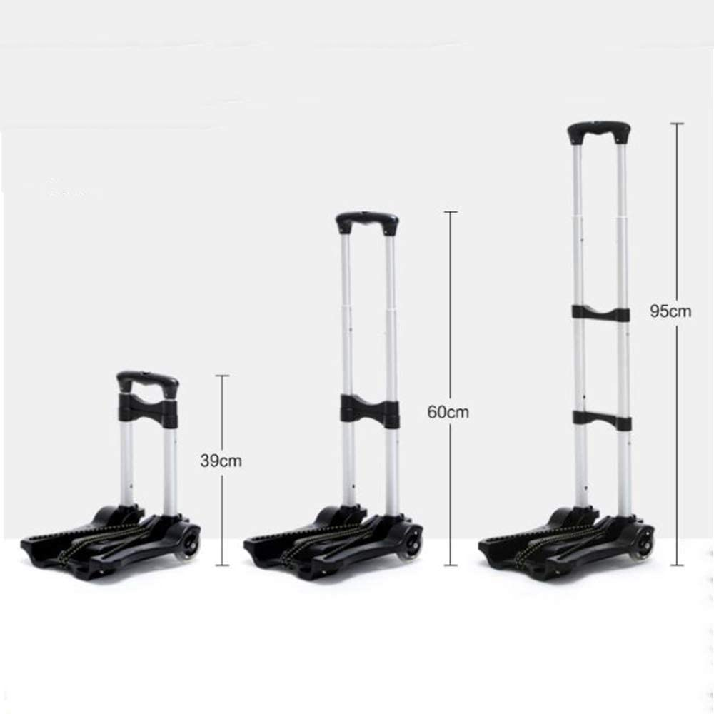 Size: 27X30X cm Household Trolley Aluminum Alloy Lifting and Folding Trolley with Small Frame Reinforced by Horizontal bar 39-95 Color : Black GF Hand Trolley