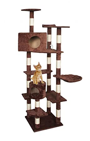 "80 ""gato árbol Condo mascota actividad Torre muebles rascador gato casa con hamaca marrón"
