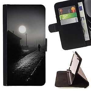 Momo Phone Case / Flip Funda de Cuero Case Cover - Casa de Pueblo Negro Camino Blanco - Sony Xperia Z3 D6603