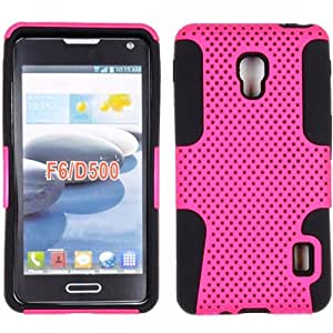 Pink Black HyBrid Mesh Rubber Soft Skin Case Hard Cover For LG Optimus F6 D500-MS500 with Free Pouch