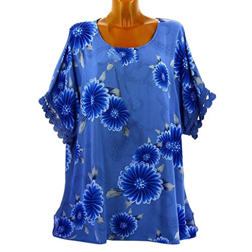 Clearance Sale! Seaintheson Womens Casual Half Sleeve Tops, Women Plus Size Lace Blouse Floral Print O-Neck Pullover Shirt