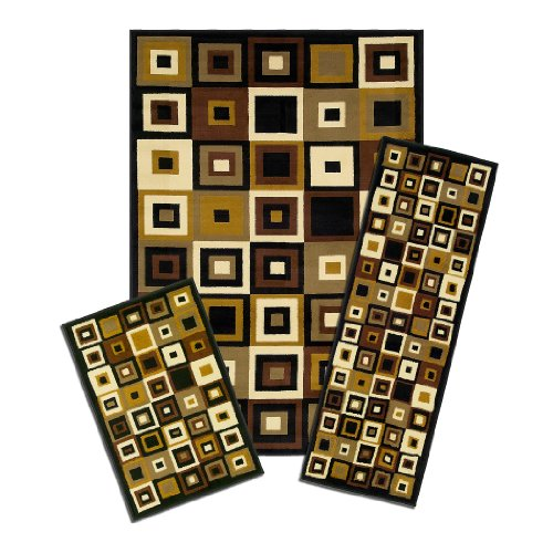 Achim Home Furnishings Capri 3-Piece Rug Set, Southwest Tiles