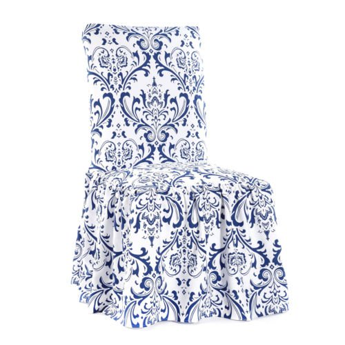 - Damask Blue Print Ruffled Dining Chair Slipcovers, Set of 2
