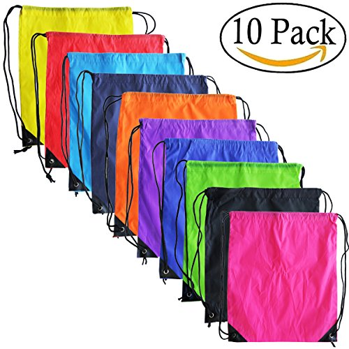 Assortment Bottle Bag - 10 Colors Drawstring Backpack Bags Sack Pack Cinch Tote Kids Sport Storage Polyester Bag for Gym Traveling