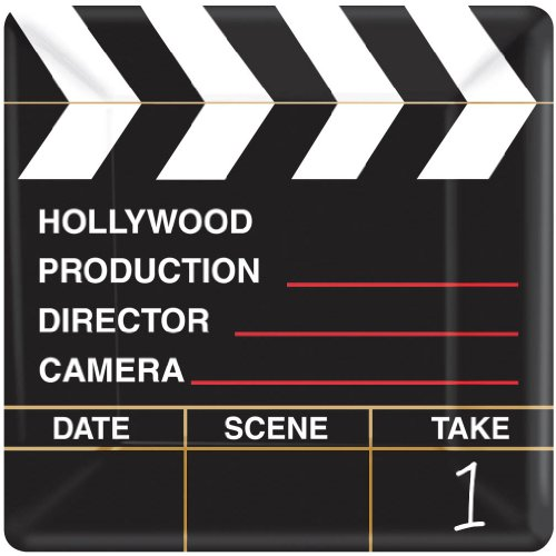 Amscan Movie Night Hollywood Themed Party Director's Cut Clapper Dessert Plates Tableware, Paper, 7