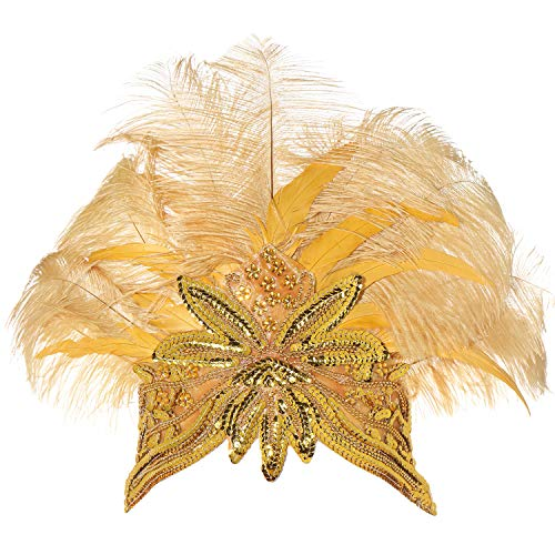 BABEYOND Women's Gold Feather Headband Indian Carnival Headpiece Pageant Headband 1920s Flapper Headband]()