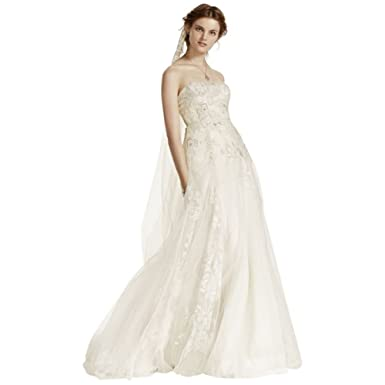 ede13cfba5d5 Melissa Sweet Tulle Wedding Dress with 3D Flowers Style MS251115, Ivory, 8  at Amazon Women's Clothing store: