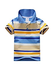 Weixinbuy Kid Baby Boys Cotton Short Sleeve Striped Polo Casual T-shirt M
