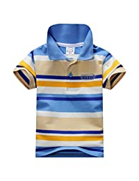 URMAGIC Baby Boy Kids Summer Cotton Short Sleeve Clothes Tops T-Shirt Striped Polo Shirt 1-7Years