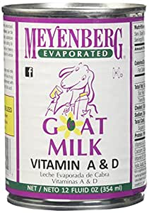 Meyenberg Evaporated Goat Milk, Vitamin D, 12 Ounce (Pack of 12)