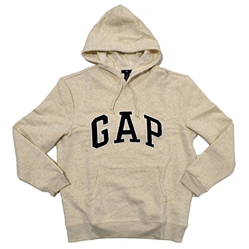 - GAP Mens Fleece Arch Logo Pullover Hoodie (Beige, X-Large)