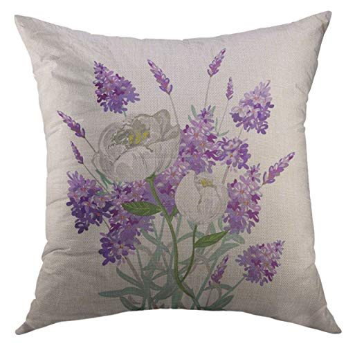 Mugod Decorative Throw Pillow Cover Purple Cluster Lavender Peony Bouquet Colorful Annual Home Decor Pillow case 18x18 Inch