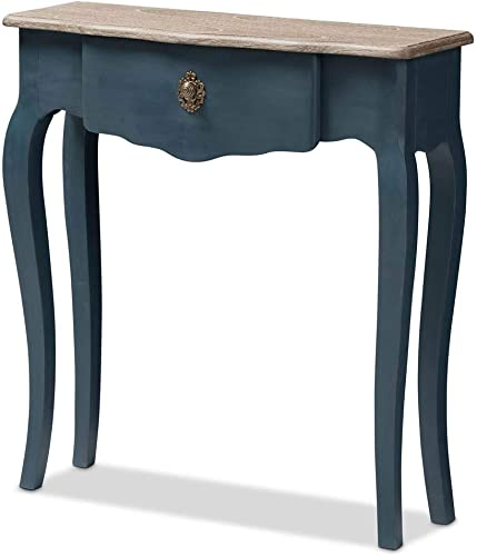 Baxton Studio Classic and Provincial Console Table in Blue Spruce Finish