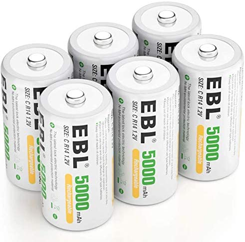 EBL Rechargeable C Batteries 5000mAh Ready2Charge C Size Battery with Storage Box, Pack of 6