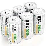 EBL Rechargeable C Batteries 5000mAh Ready2Charge C