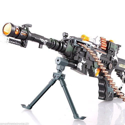 LED Light Up Military Toy Rifle Machine Gun Tommy Pistol Moving Barrel (Military Toy Guns)