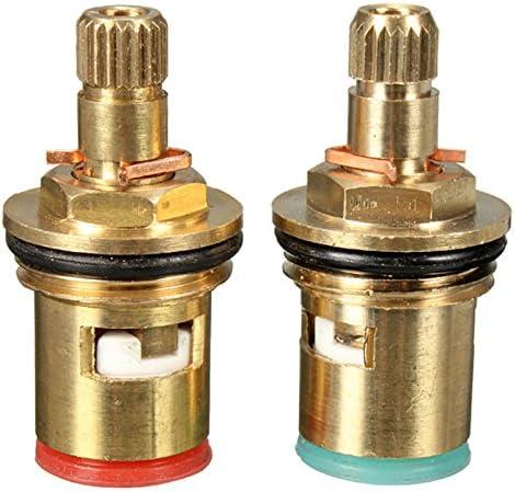 Queenwind 2pcs 1/2 インチクォーターターンタップバルブカートリッジ真鍮セラミックディスクホットコールド交換