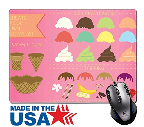 """MSD Natural Rubber Mouse Pad/Mat with Stitched Edges 9.8"""" x 7.9"""" IMAGE ID: 28140350 Ice cream illustration"""