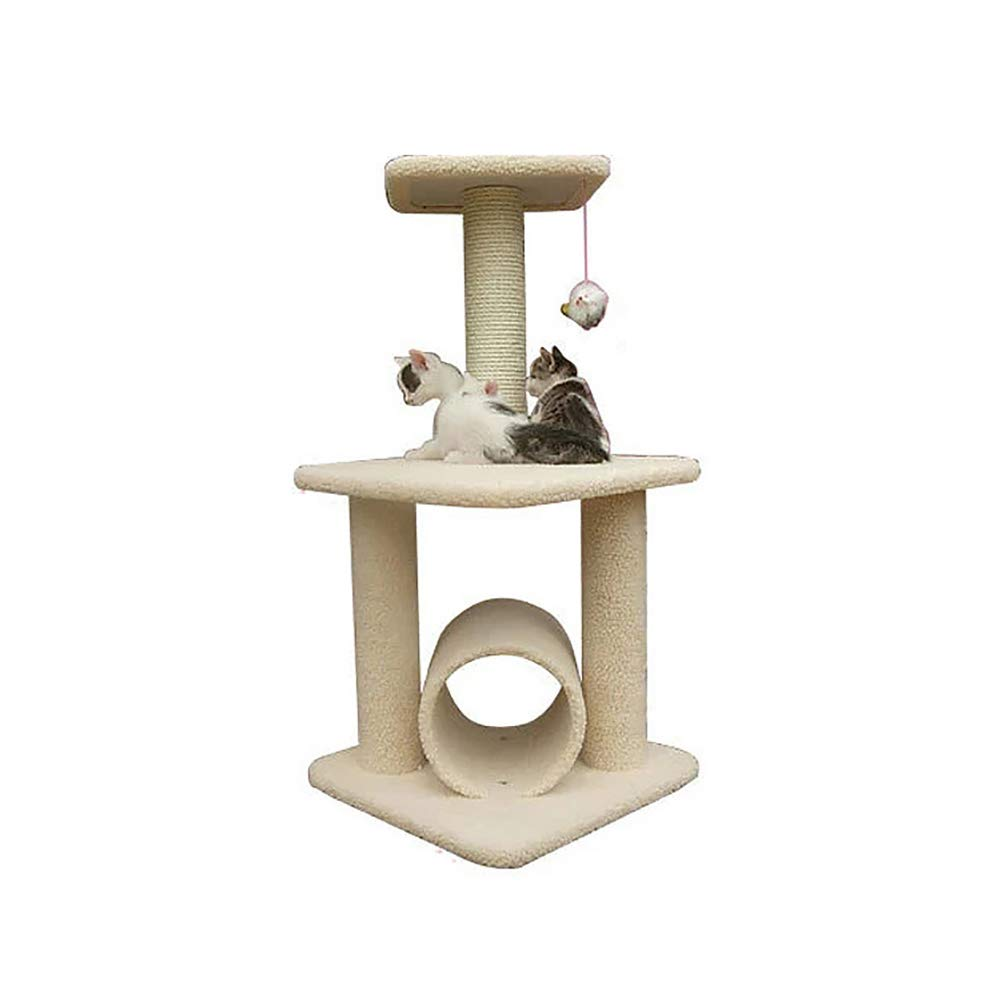 Cat Activity Tree,pet Kitty Play House Environmentally Friendly and Non-Toxic AA Grade Solid Wood Board Lookout and Toy Charm Sisal Pillar Durable