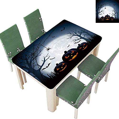 Printsonne Indoor/Outdoor Halloween Night Background with Pumpkins, Kitchen Tablecloth Picnic Cloth 50 x 102 Inch (Elastic Edge)