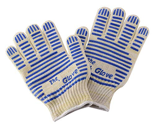 BBQ Grill Gloves, Oven Heat Resistant Cooking Gloves for Barbeque Grilling Frying Baking Smoking Potholder Leedemore, Set of 2 Blue by Leedemore