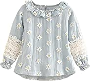 Mud Kingdom Little Girls Lace Floral Blouse Sweet