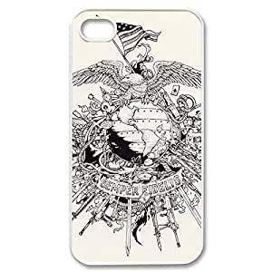 Fancy USMC Marine Corps Lightweight Printed Hard Plastic case Snap-on cover for iphone 5 5s 4g- White 021408