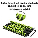 Olsa Tools Socket Organizer Tray | Black Tray with Green Clips | Holds 48 Pcs Sockets | Premium Quality Tools Organizer | by